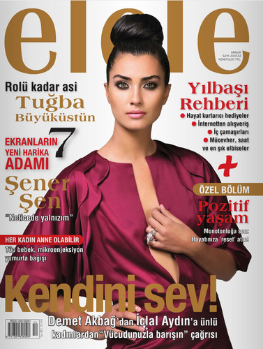 Tuba Buyukustun on the cover of Turkish Elele Magazine