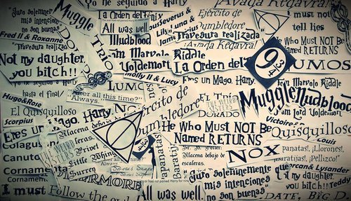 Harry Potter Hintergrund possibly with a sign and a newspaper entitled ~Harry Potter Forever!~