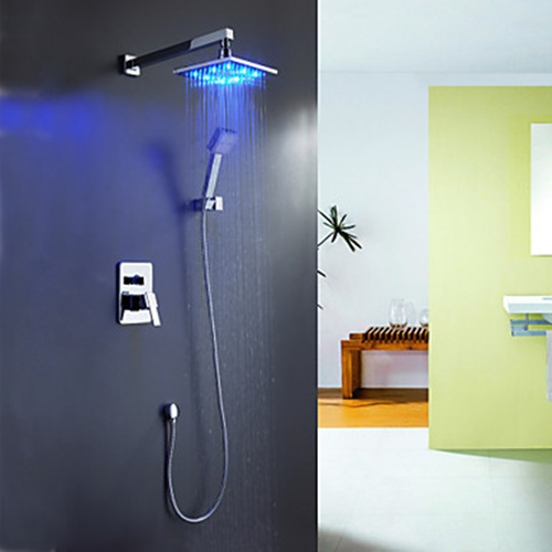 Faucets Images Color Changing LED Shower Faucet With 8 Inch Shower Head + Hand  Shower Wallpaper And Background Photos