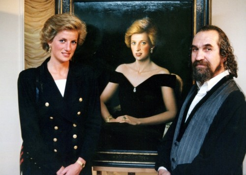 Diana, Princess of Wales with artist Israel Zohar