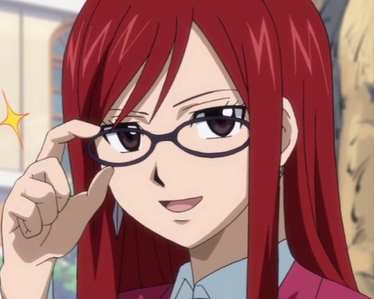 Erza Scarlet wallpaper probably containing anime entitled Erza with glasses