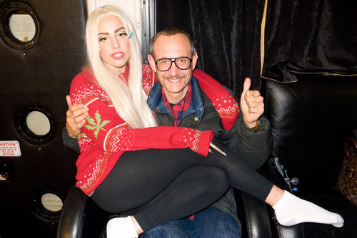 Gaga and Terry Richardson backstage at TRS concerto