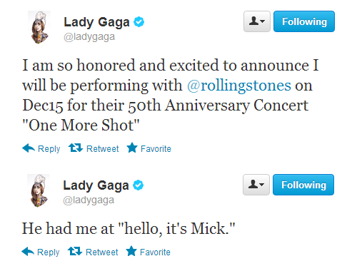 Gaga will perform with The Rolling Stones