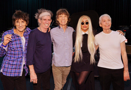 Gaga at rehearsals with The Rolling Stones