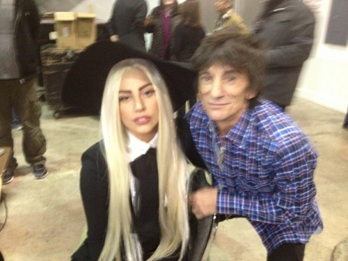 Gaga and Ronnie Wood at The Rolling Stones rehearsals