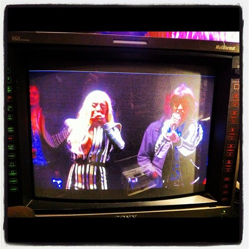 Gaga at the soundcheck with The Rolling Stones (Dec. 15)