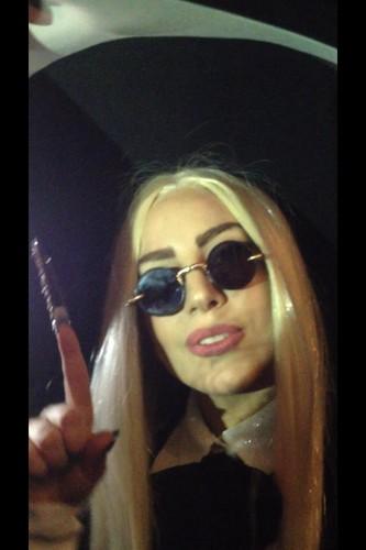 Gaga in NYC wearing the fiber-optic wig