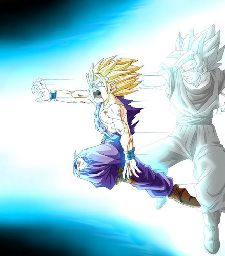 dragon ball z wallpaper entitled Gohan & goku Kamehameha Wave