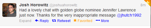 Josh Horowitz tweets about Josh and Jen