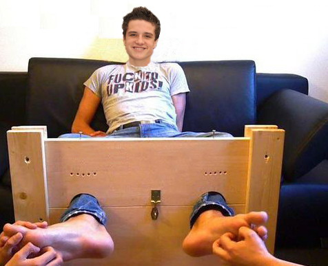 "Josh Hutcherson fond d'écran possibly containing a packing box entitled Josh tied up and tickled - from the ""Ropes 'R' Us"" November 2012 cover"