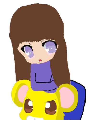 Kiya and a topo, mouse :3