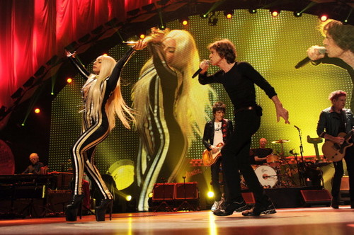Lady Gaga performing with The Rolling Stones