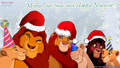 Mufasa Sarabi Simba Nala Kovu Kiara Merry Christmas Happy New Year HD - lion-king-couples wallpaper
