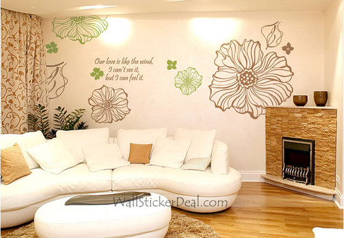 Our Love is Like The Wind, I Can't See It, But I Can Feel It Flower Wall Decals