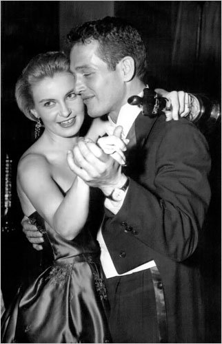 "Paul Newman and Joanne Woodward dancing at a party celebrating her Oscar for ""Three Faces of Eve"""