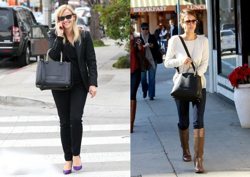 Reese Witherspoon and Jessica Alba with same bag