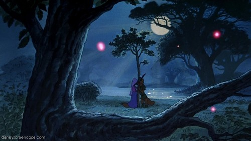 Walt Disney's Robin Hood wallpaper possibly with a live oak and a beech called Romantic Evening