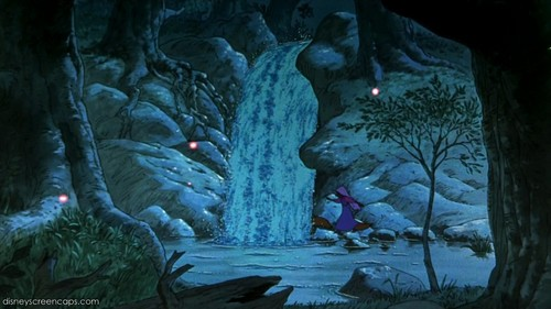 Walt Disney's Robin Hood wallpaper with a fountain entitled Romantic Evening