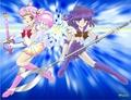 Sailor Saturn and Chibi Moon
