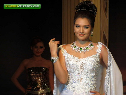 Thet Mon Myint wolpeyper with a bridesmaid, a hapunan dress, and a toga titled at She Shines Fashion ipakita