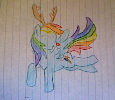 pelangi, rainbow dash as Rudolph