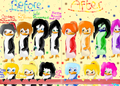 (From my fanfic) My rainbow sister ocs, before and after the oil incident. :3 - fans-of-pom photo