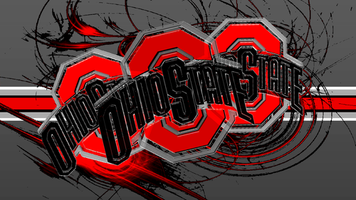 Ohio State Buckeyes wallpaper titled 3 RED BLOCK O'S WITH A BUCKEYE STRIPE