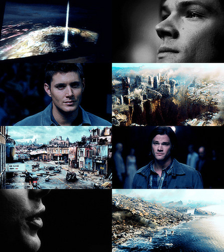 supernatural fondo de pantalla with a sign titled AU meme supernatural | In which Sam and Dean dicho yes to Lucifer and Michael.