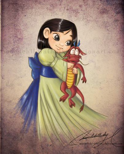 Childhood Animated Movie Heroines پیپر وال containing عملی حکمت titled Baby Mulan