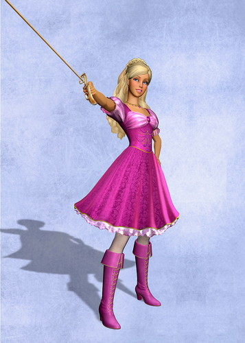 Barbie Movies wallpaper probably with a polonaise, a dress, and a kirtle called Barbie and the 3 Musketeers ~♥