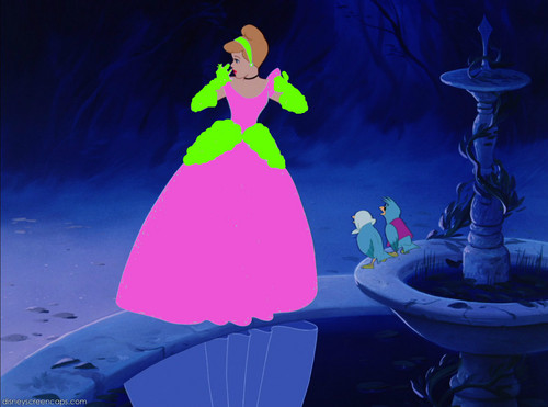 Cinderella in merah jambu and green dress