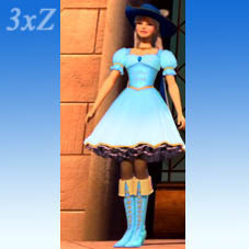 Corinne in Blue Musketeer dres