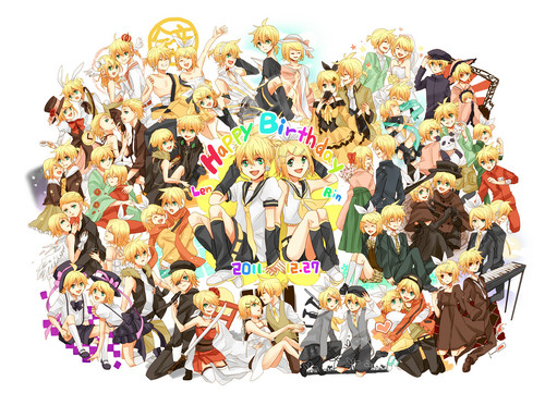 Rin und Len Kagamine Hintergrund called Happy Birthday Kagamine Twins