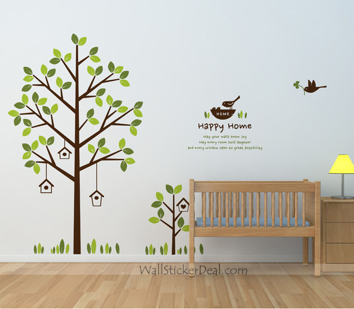Happy house tree and birds wall decals home decorating photo