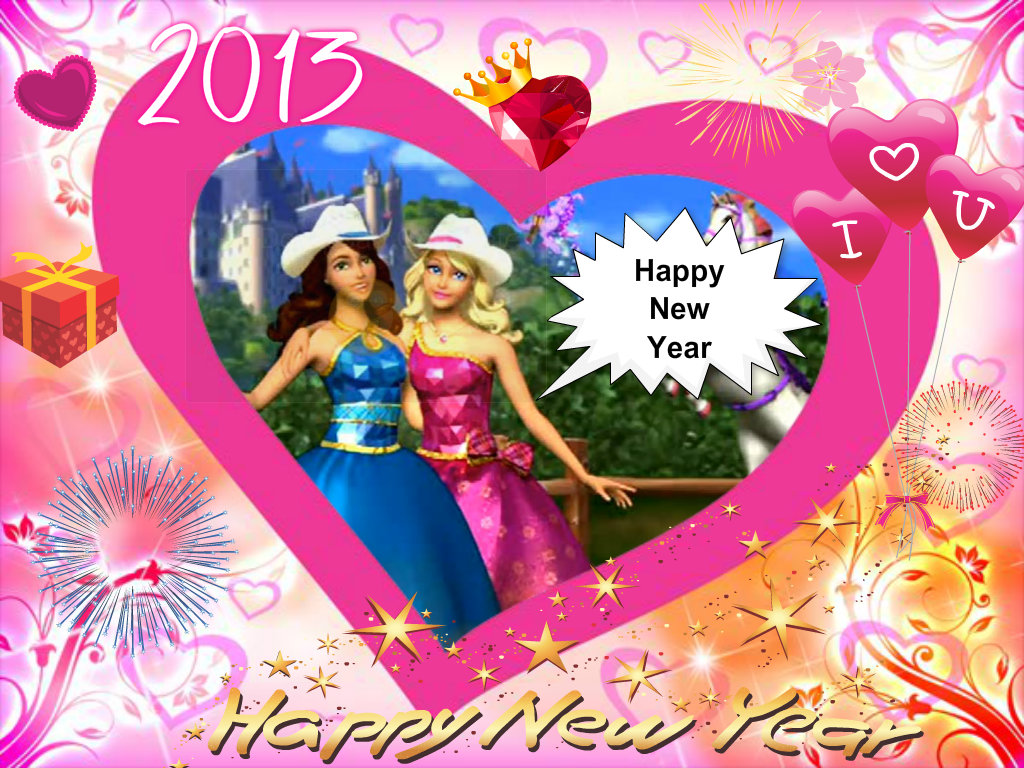 Barbie princess charm school happy new year card