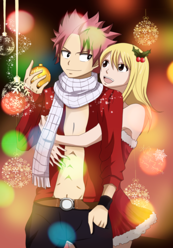 Natsu x Lucy wallpaper with anime titled Hug from behind ♥