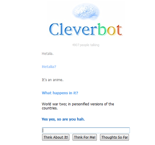 I talk to cleverbot about Hetalia. .__.