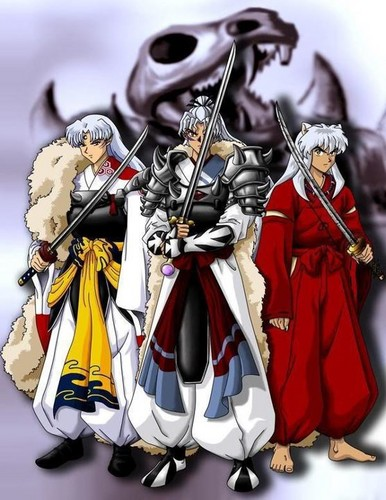 Inuyasha hình nền with a surcoat, áo lót titled Inuyasha, Sesshomaru and Inu no taisho