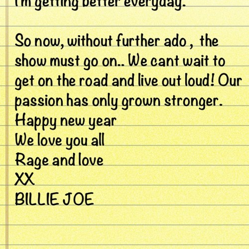 MESSAGE FROM BILLIE JOE ON INSTAGRAM