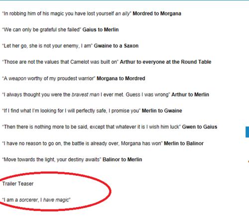 Merlin 5.12 - Text Characters Blah Blah Blah and wait the magical reveal lines so freakin piddling