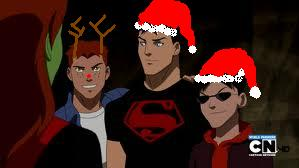 Young Justice karatasi la kupamba ukuta probably containing a ski mask and anime entitled Merry Christmas-robin,wally,and superboy