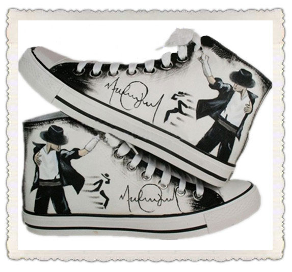 Michael Jackson hand painted black/white shoes