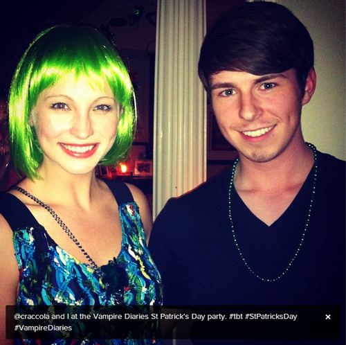 New personal photo of Candice at the TVD St Patrick's Day party .