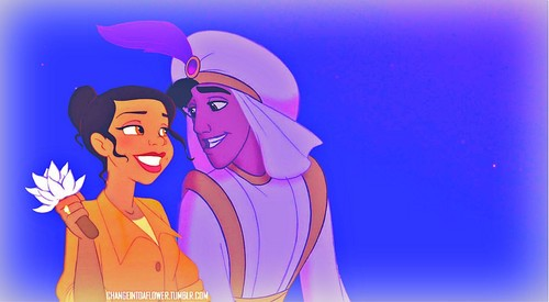 disney crossover fondo de pantalla probably with anime called OTP: Tiana/Aladdin<33
