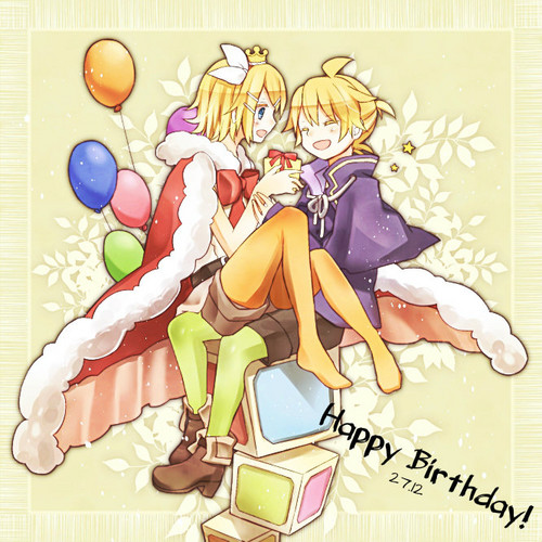 Rin und Len Kagamine Hintergrund probably with Anime called Otanjoubi Omedetou Rin and Len!