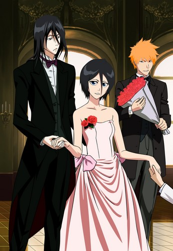 Rukia accompanied by her brother and friend