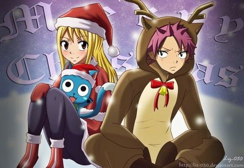 Natsu x Lucy wallpaper possibly containing anime entitled Santa and Deer