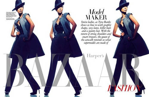 Tyra Banks wolpeyper titled Tyra banks for Harpers Bazaar Singapore