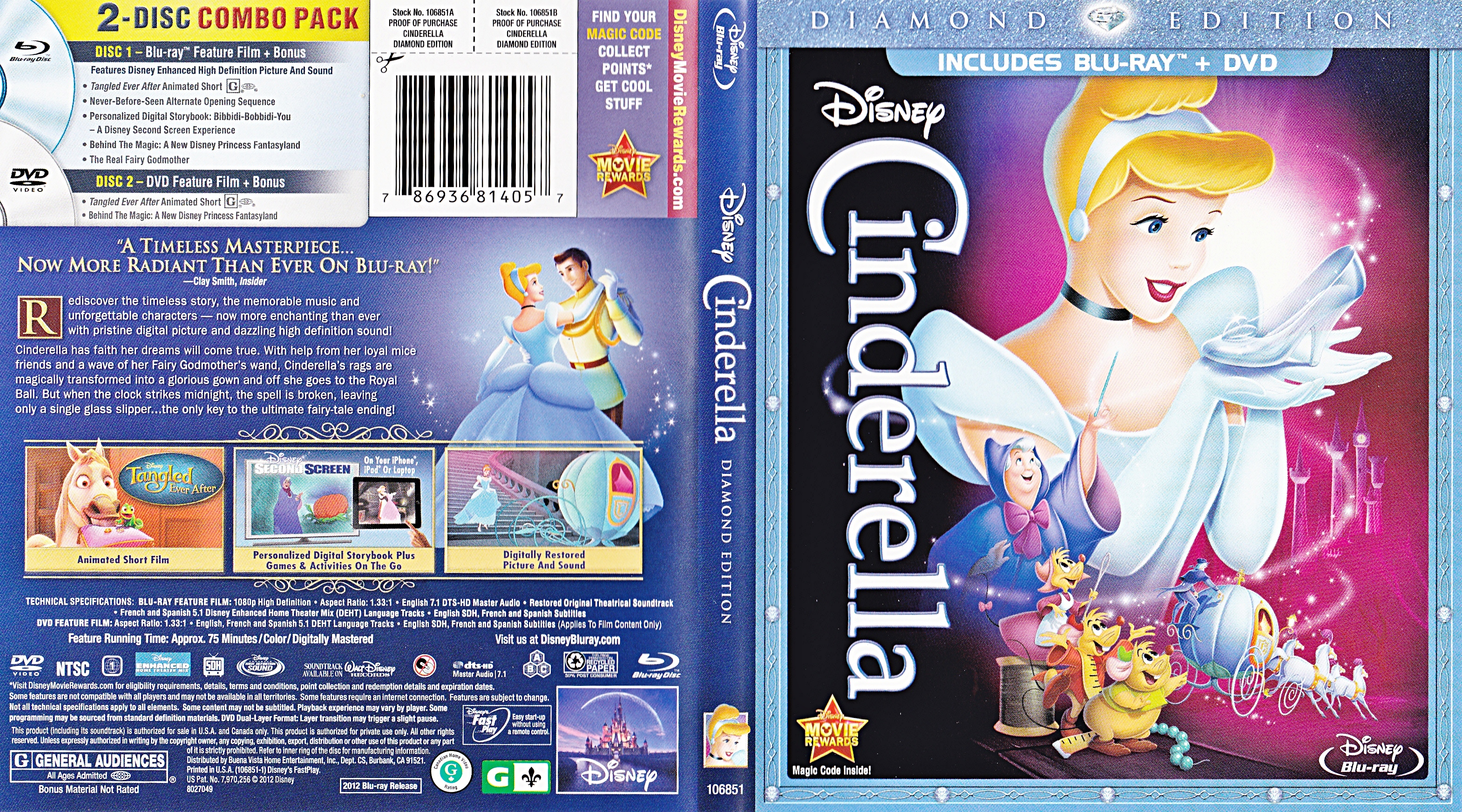 Walt disney Blu-Ray Covers - Cinderella: Diamond Edition