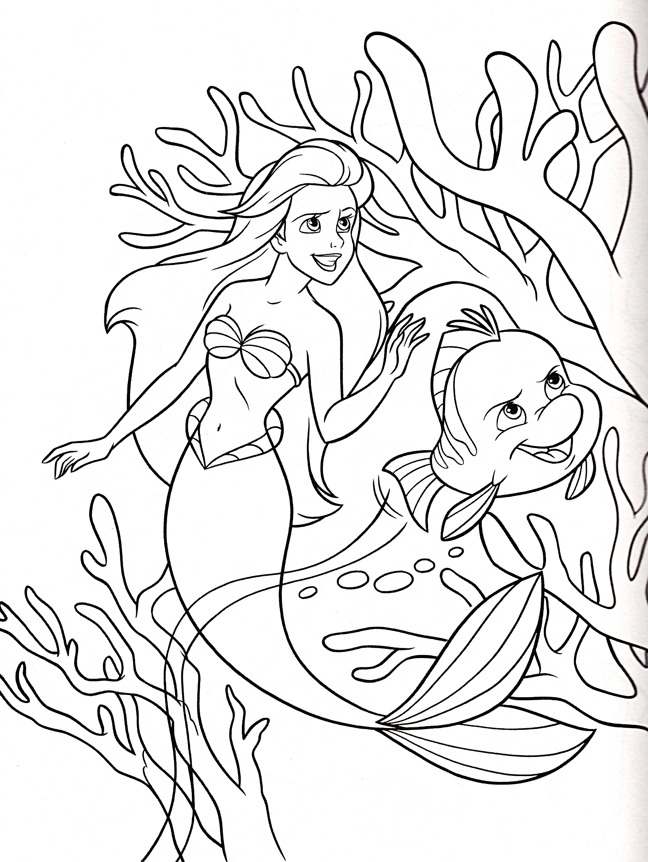 Walt Disney Coloring Pages - Princess Ariel & cá bơn, bồ câu